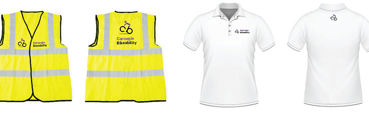 Bikeability branding collateral - vests and polo shirts