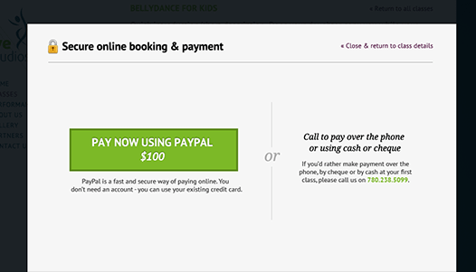Class online booking and payment